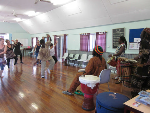 African dance class with African drummers