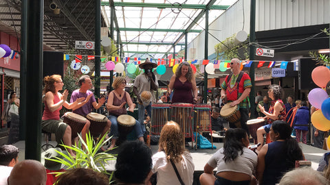 Performance by students of Mady Keita's African drumming classes