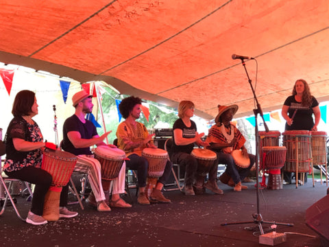 Djembe drumming student group performance in Eltham