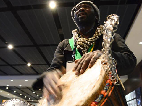 Mady Keita solo African drumming at the MCG in Melbourne