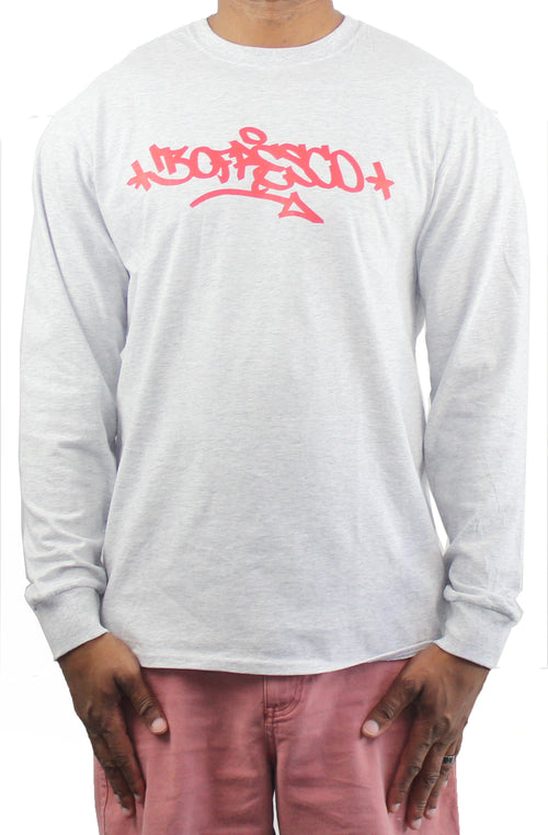 Bofresco X B-Boy Born Handstyle Longsleeve Tee- Ash Grey - Bofresco