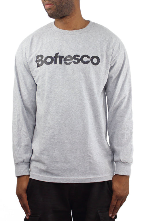 Bofresco Classic Logo Long Sleeve T-Shirt Heather Grey - Bofresco