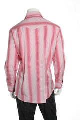 Arnold Zimberg Mens Pink Striped Button Down Shirt
