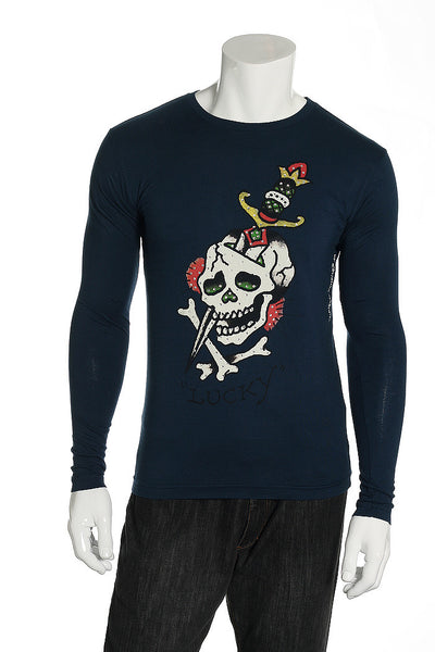Ed Hardy Mens Blue Graphic T-Shirt