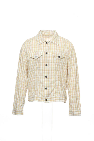 24 Standard Mens Yellow Plaid Short Jacket