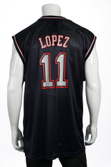 Adidas Mens Blue Graphic NBA New Jersey Nets Brook Lopez Jersey