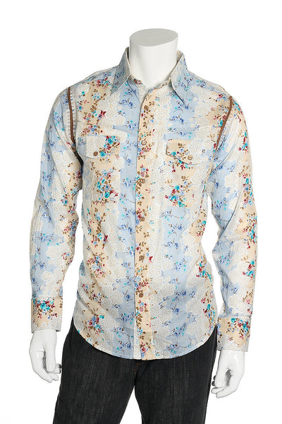 7 Diamonds Button Down Shirt-Button Down Shirts-7 Diamonds-Small-Medium Blue-Floral-iWANPANTS