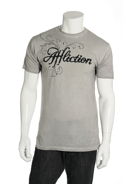 Affliction Mens Gray Embroidered T-Shirt