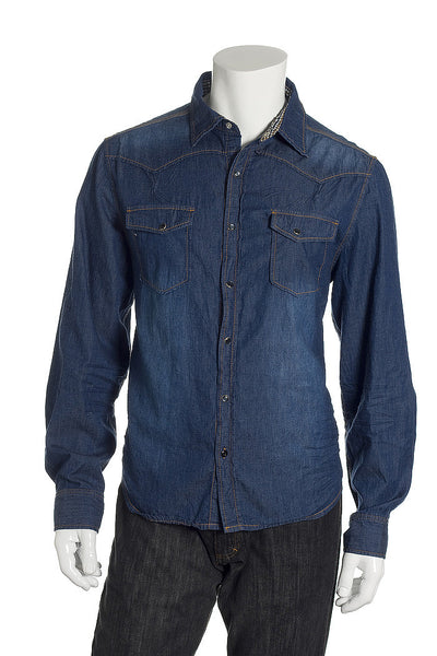 X-Ray Jeans Mens Blue Western Shirt