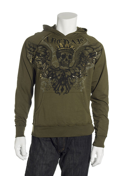 Archaic Mens Green Graphic Hoodie