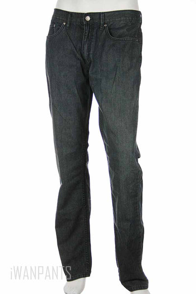 Kenneth Cole Mens Gray Distressed Straight Leg Jeans
