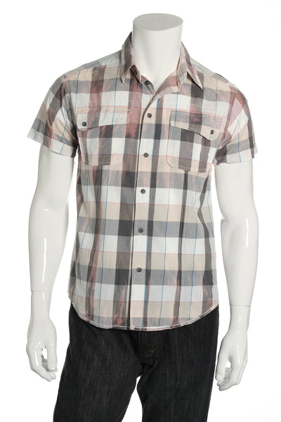 Quiet Royalty Mens Gray Plaid Button Down Shirt