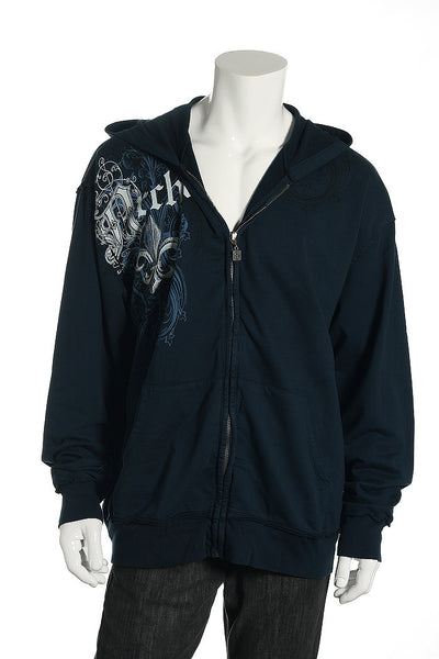 Archaic Mens Blue Graphic Hoodie