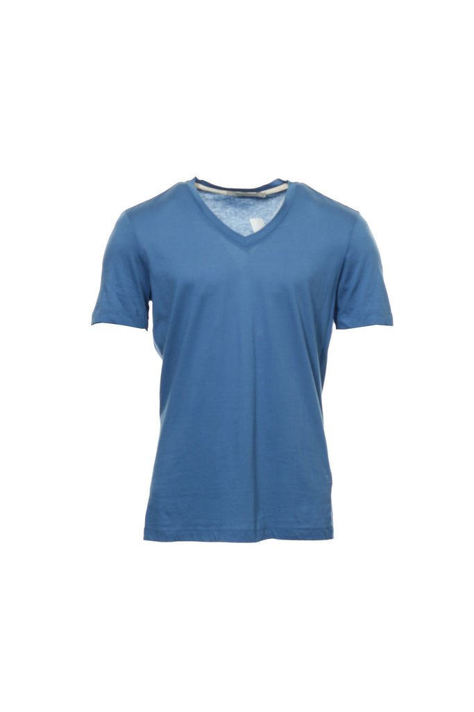 Abbot + Main Mens Blue Micro Striped V-Neck T-Shirt