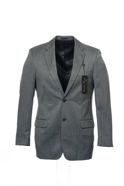 Andrew Fezza Mens Gray Herringbone 2 Button Sport Coat