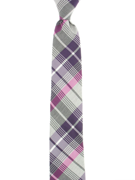 Alfani Mens Purple Plaid Tie