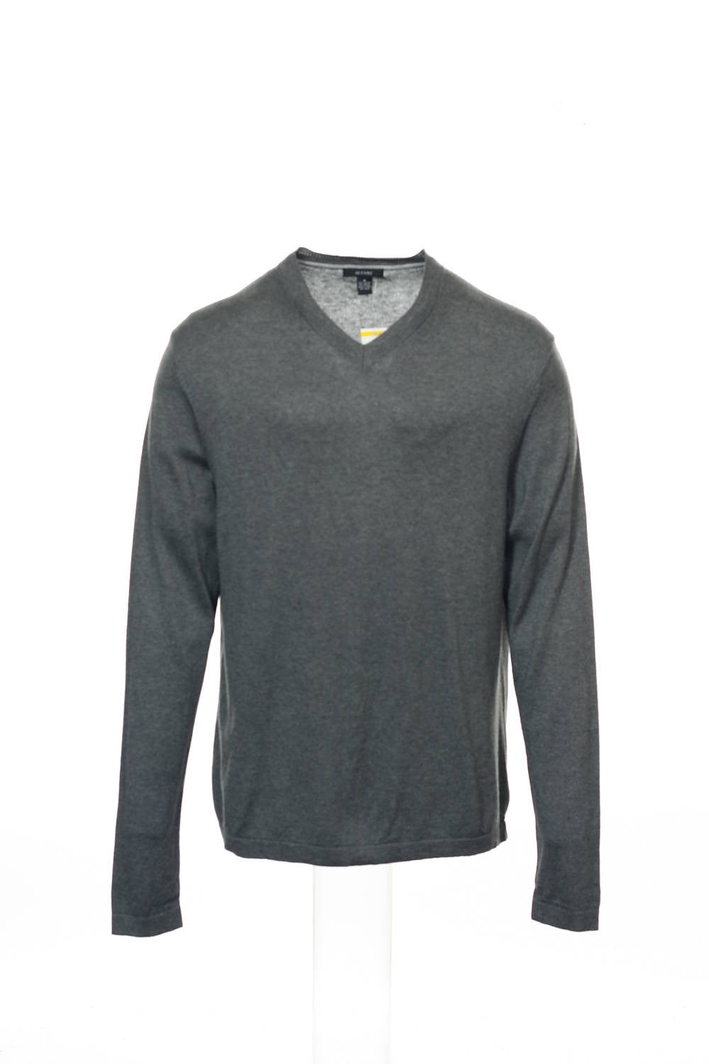 Alfani Mens Gray Heather V-Neck Sweater