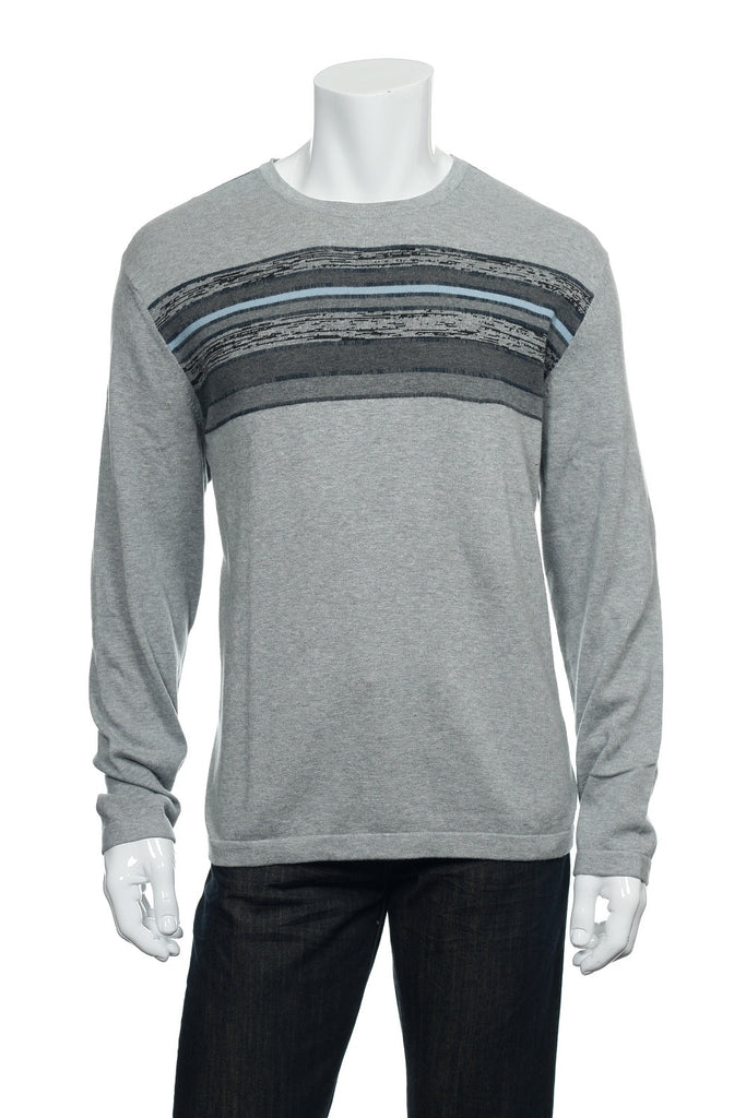 Alfani Mens Light Gray Heather Crew Neck Sweater