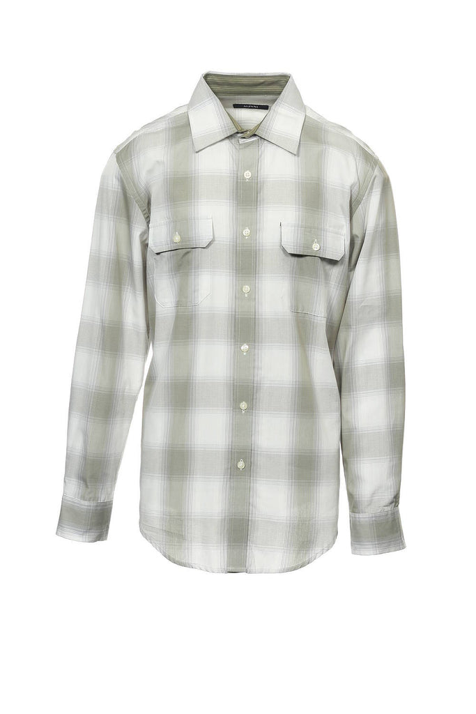 Alfani Mens Beige Plaid Button Down Shirt