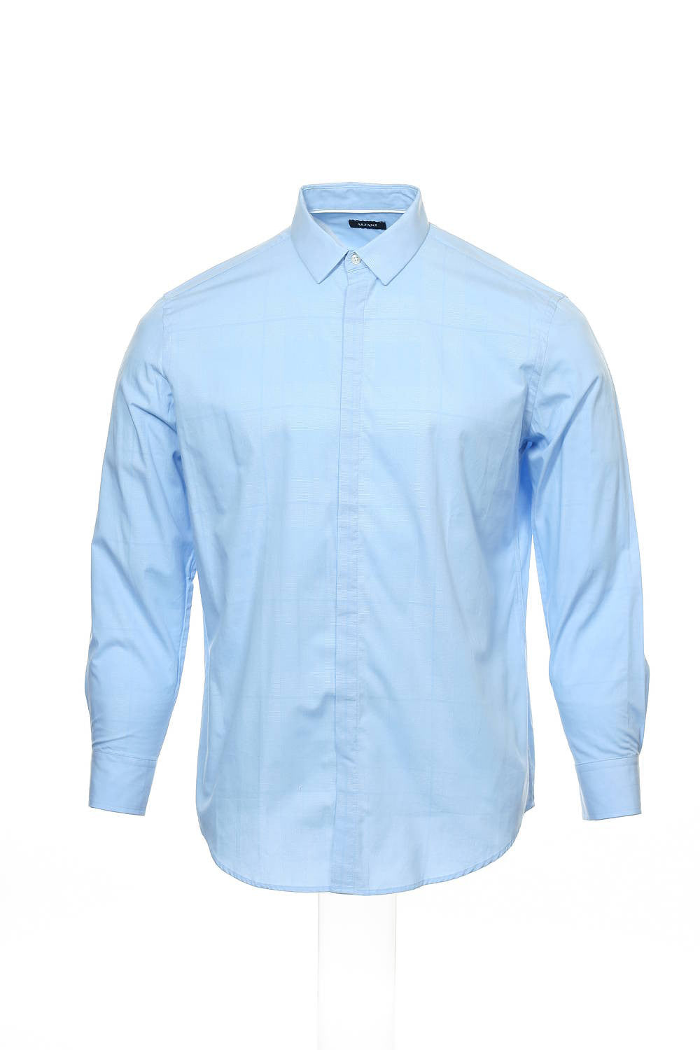 Alfani Mens Light Blue Window Pane Button Down Shirt