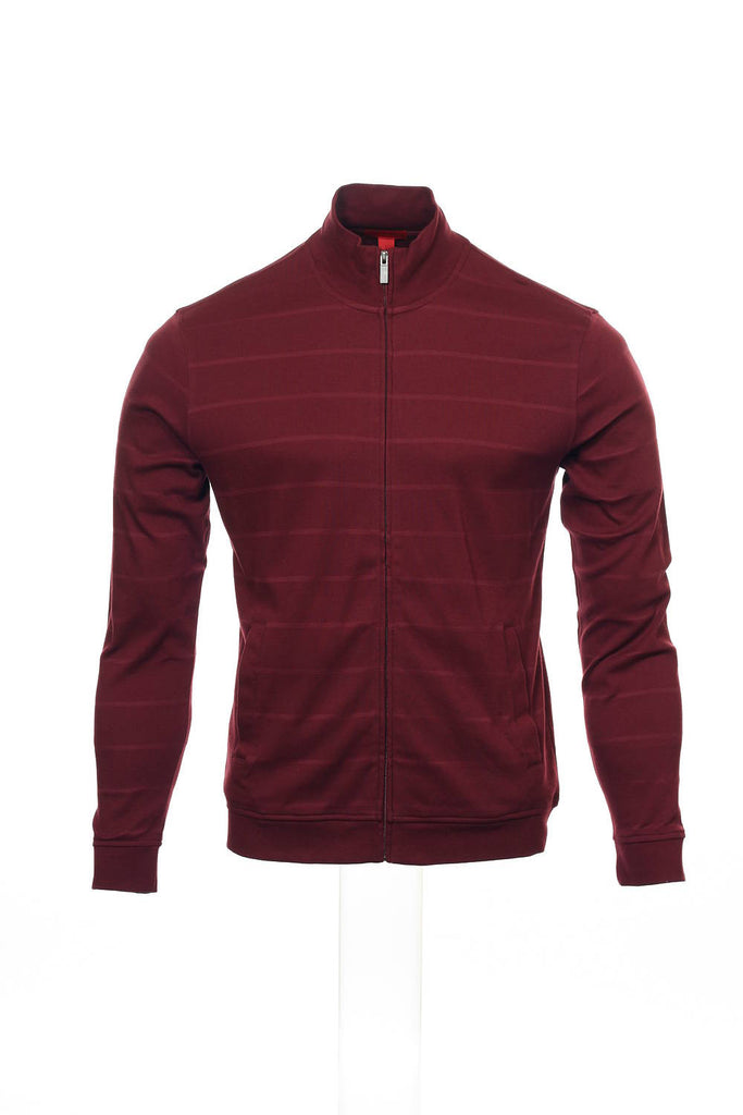 Alfani Red Mens Burgundy Wide Striped Full Zip Sweatshirt