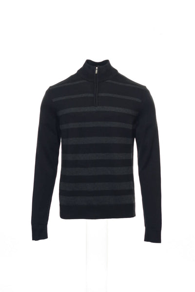 Alfani Mens Black Striped Half Zip Sweater