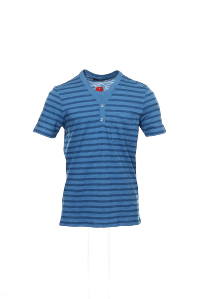 Alfani Red Mens Blue Striped Henley Shirt