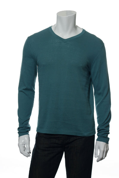 Alfani Mens Green V-Neck Sweater