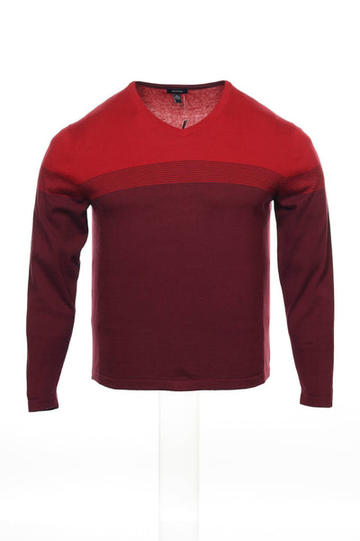 Alfani Mens Burgundy Striped V-Neck Sweater