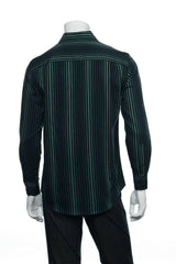 Alfani Mens Black Striped Button Down Shirt