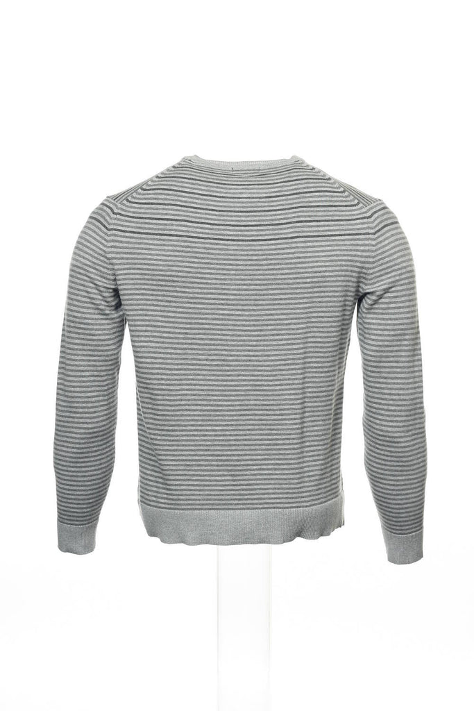 Alfani Mens Gray Striped V-Neck Sweater