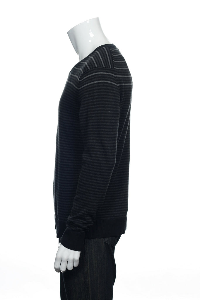 Alfani Mens Black Striped V-Neck Sweater