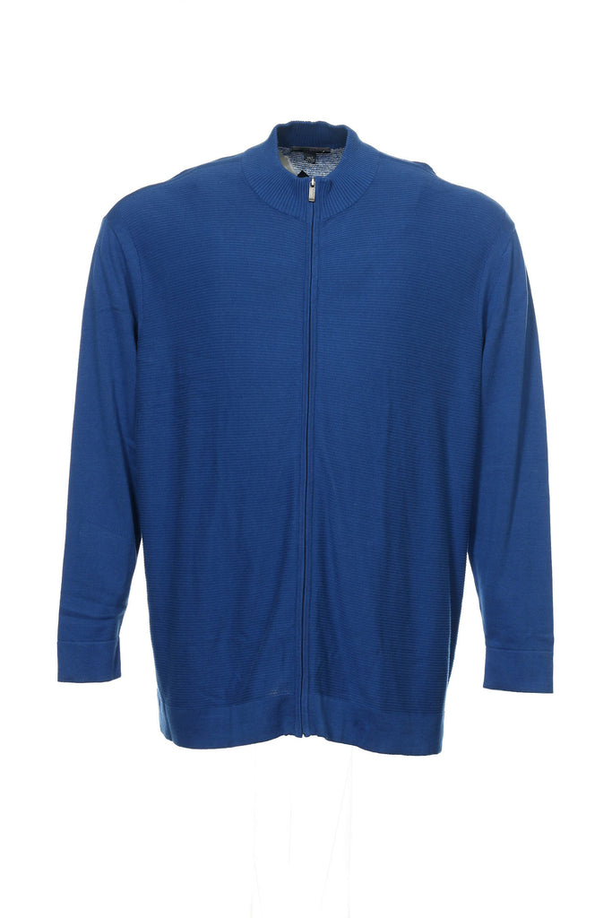 Alfani Mens Blue Micro Striped Full Zip Sweater