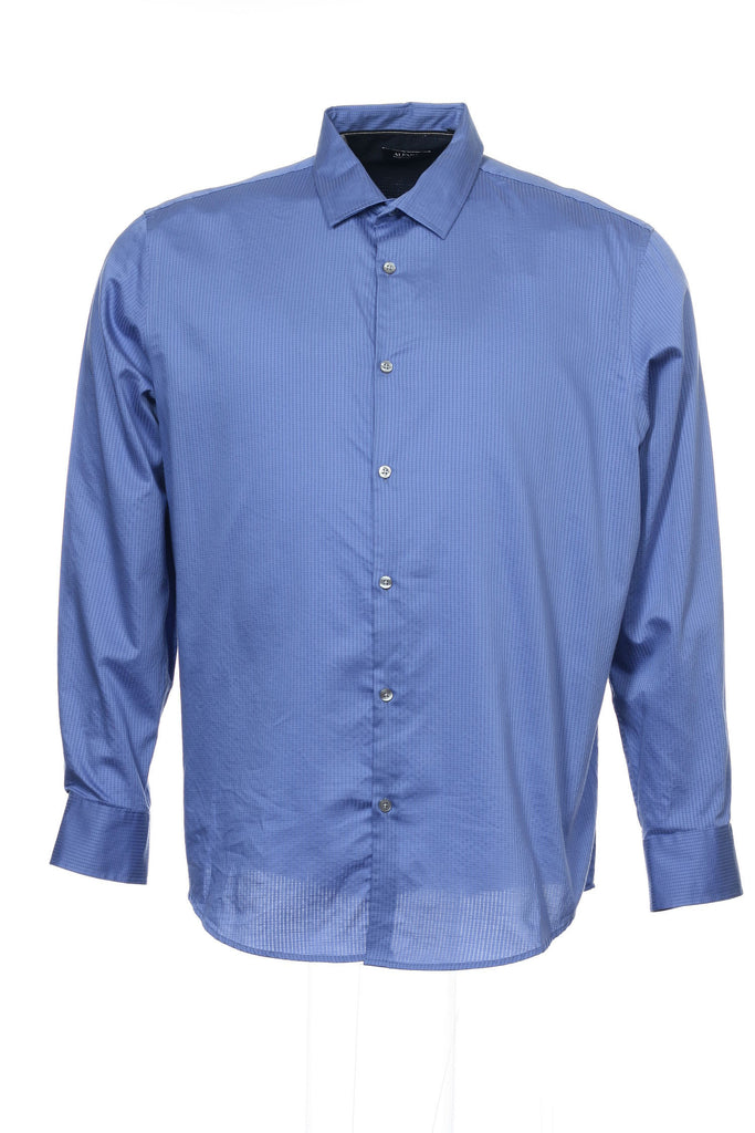 Alfani Mens Blue Checked Button Down Shirt