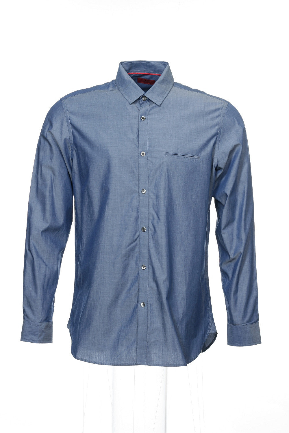 Alfani Mens Blue Herringbone Button Down Shirt