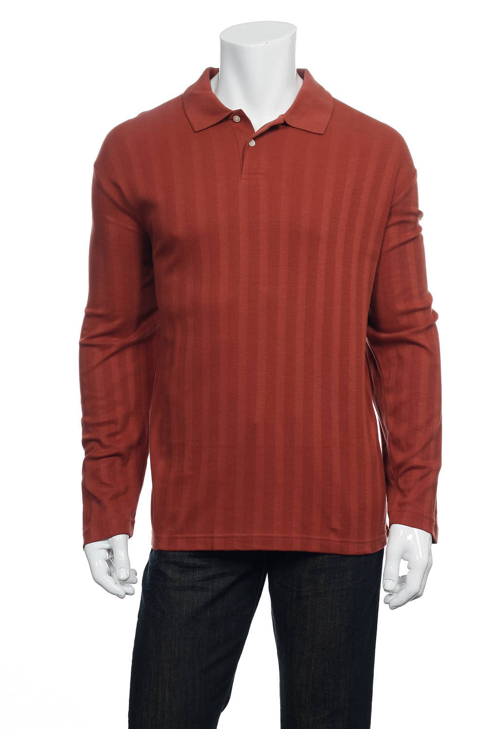 Alfani Mens Red Striped Polo Shirt