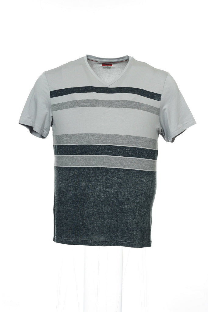 Alfani Mens Gray Striped V-Neck T-Shirt