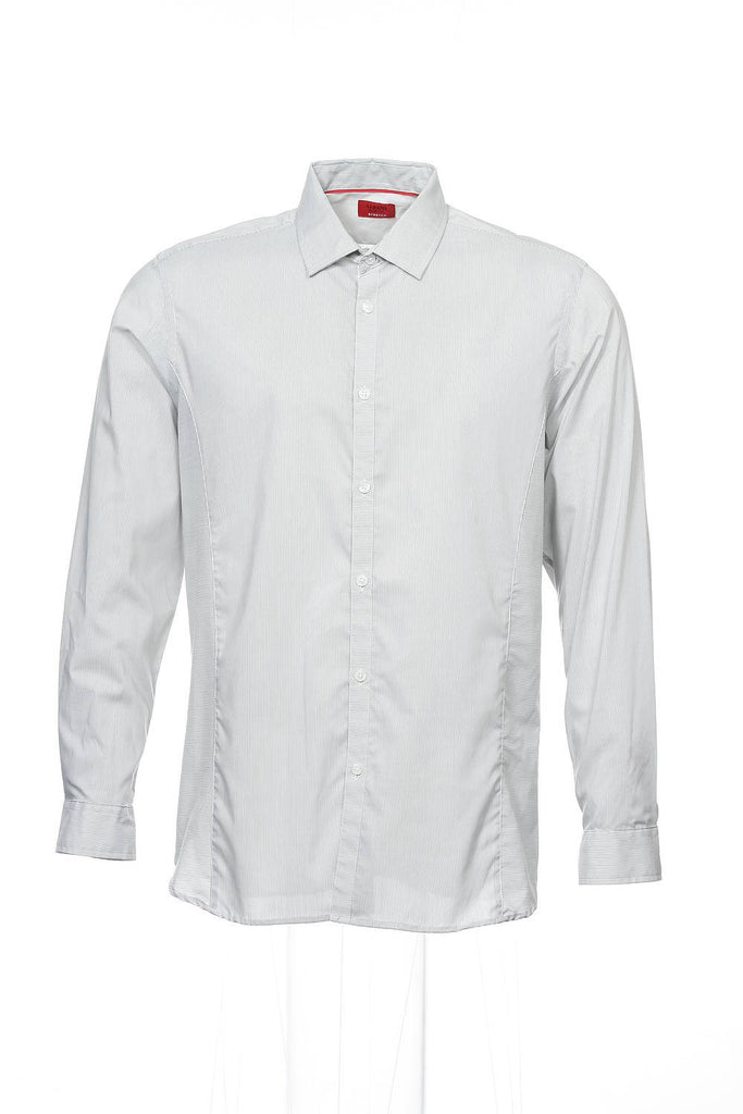 Alfani Red Mens Light Gray Micro Striped Button Down Shirt
