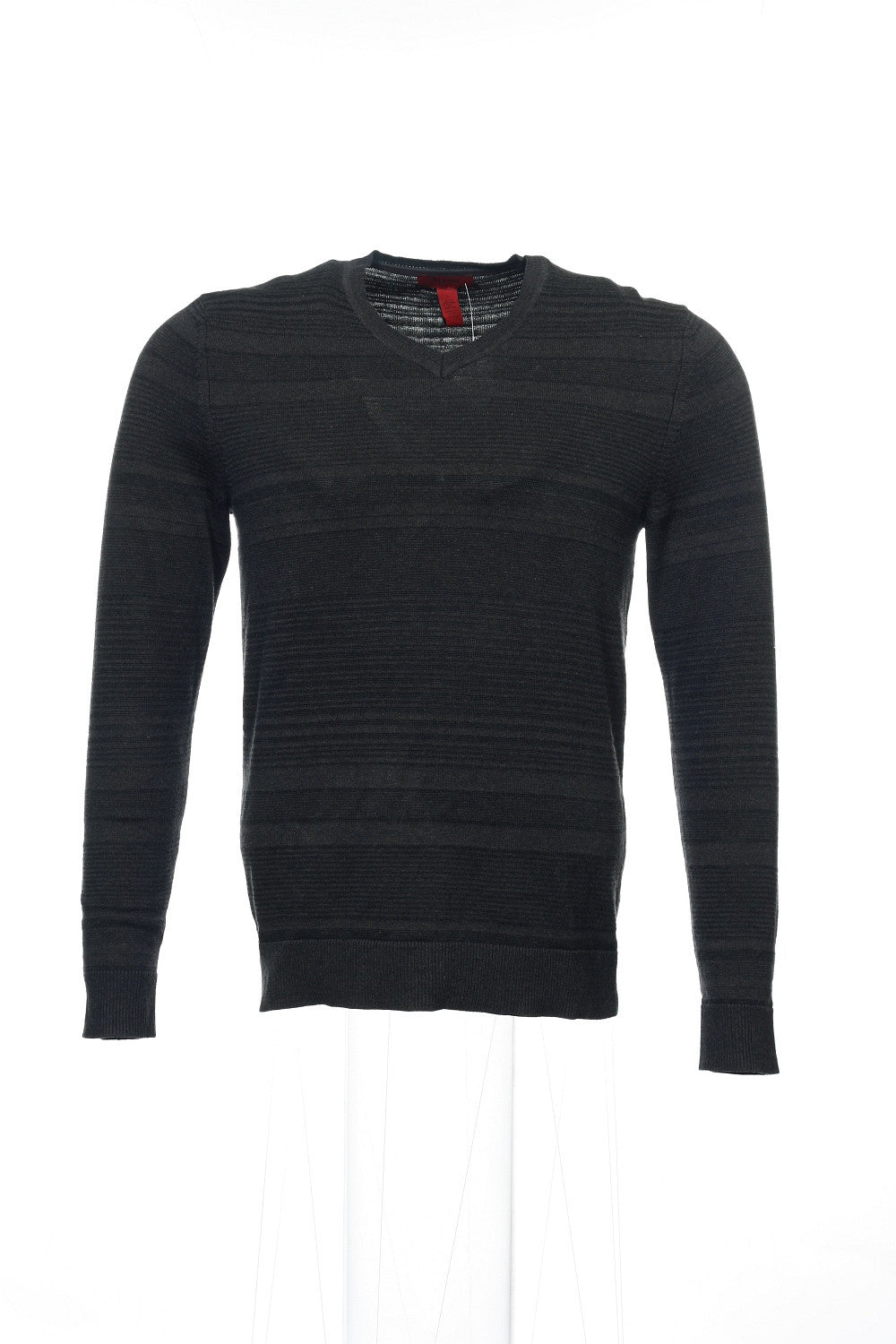 Alfani Red Mens Black Striped V-Neck Sweater