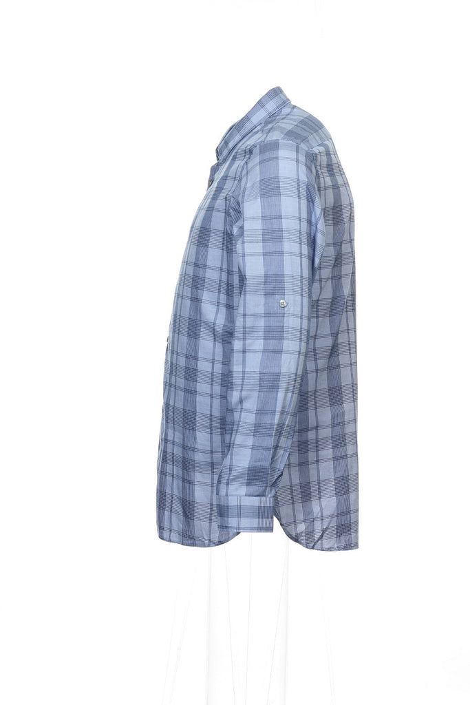 Alfani Mens Blue Window Pane Button Down Shirt