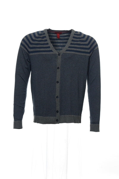 Alfani Mens Blue Striped Cardigan Sweater