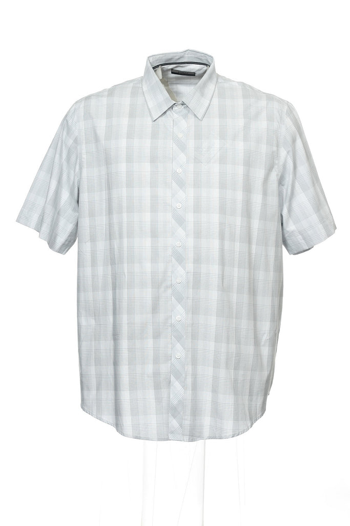 Alfani Big & Tall Mens Light Gray Window Pane Camp Shirt