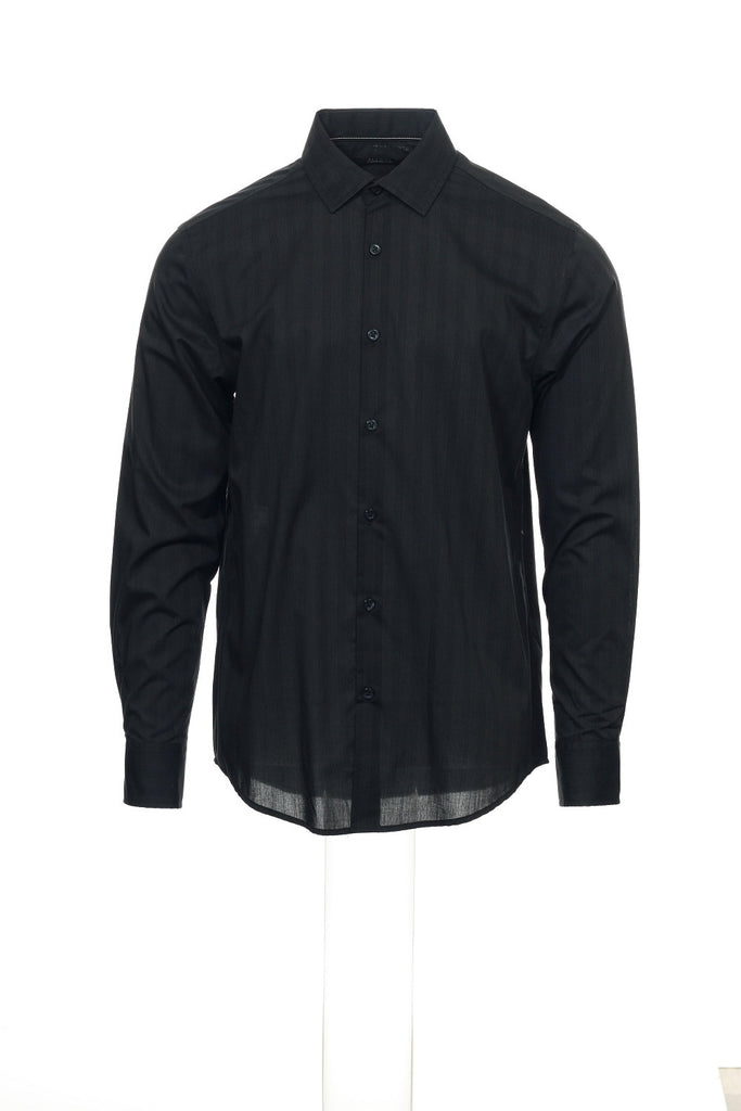 Alfani Mens Black Pinstripe Button Down Shirt