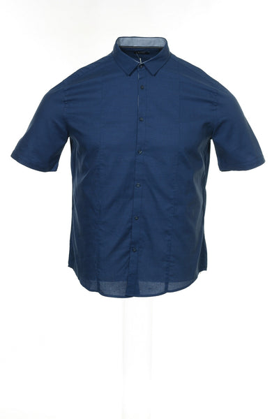 Alfani Mens Blue Heather Button Down Shirt