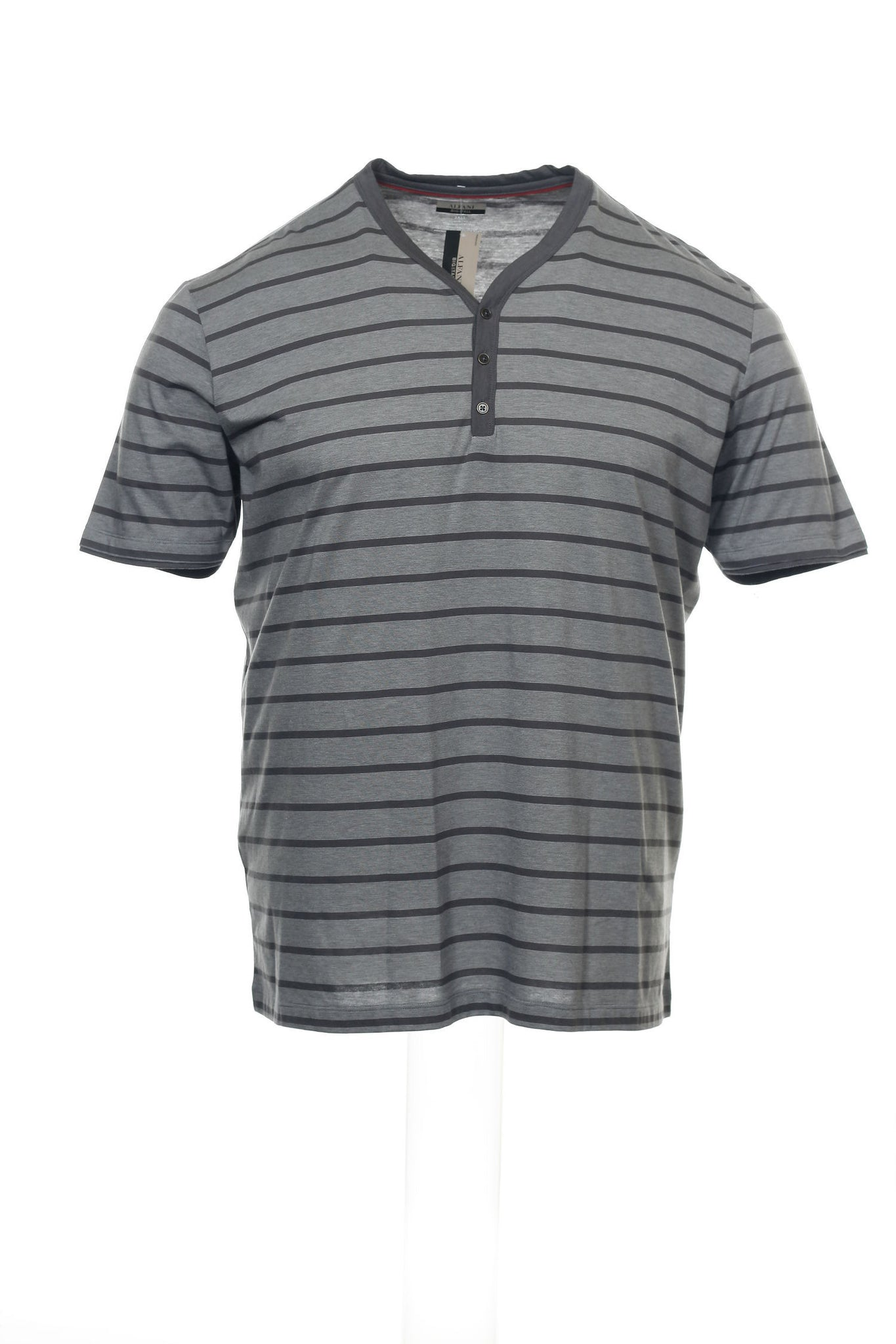 Big & Tall by Alfani Mens Gray Micro Striped Henley Shirt