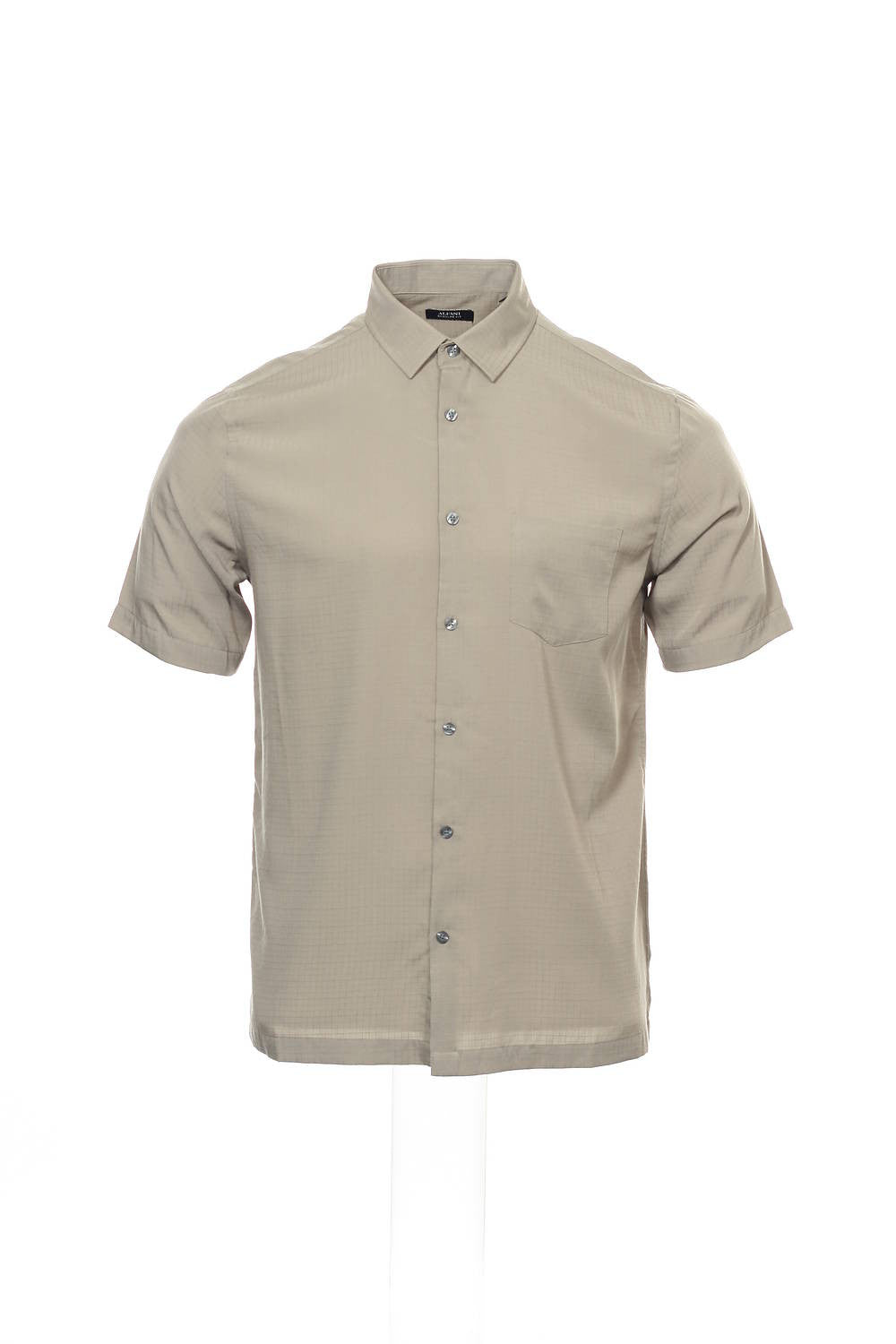 Alfani Mens Taupe Checked Camp Shirt