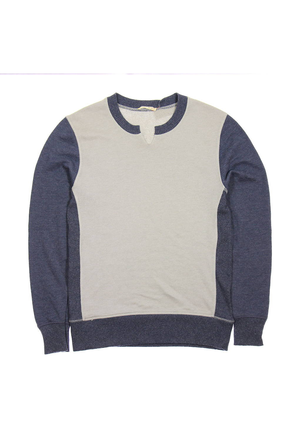 Alternative Mens Gray Color Block Crew Neck Sweater
