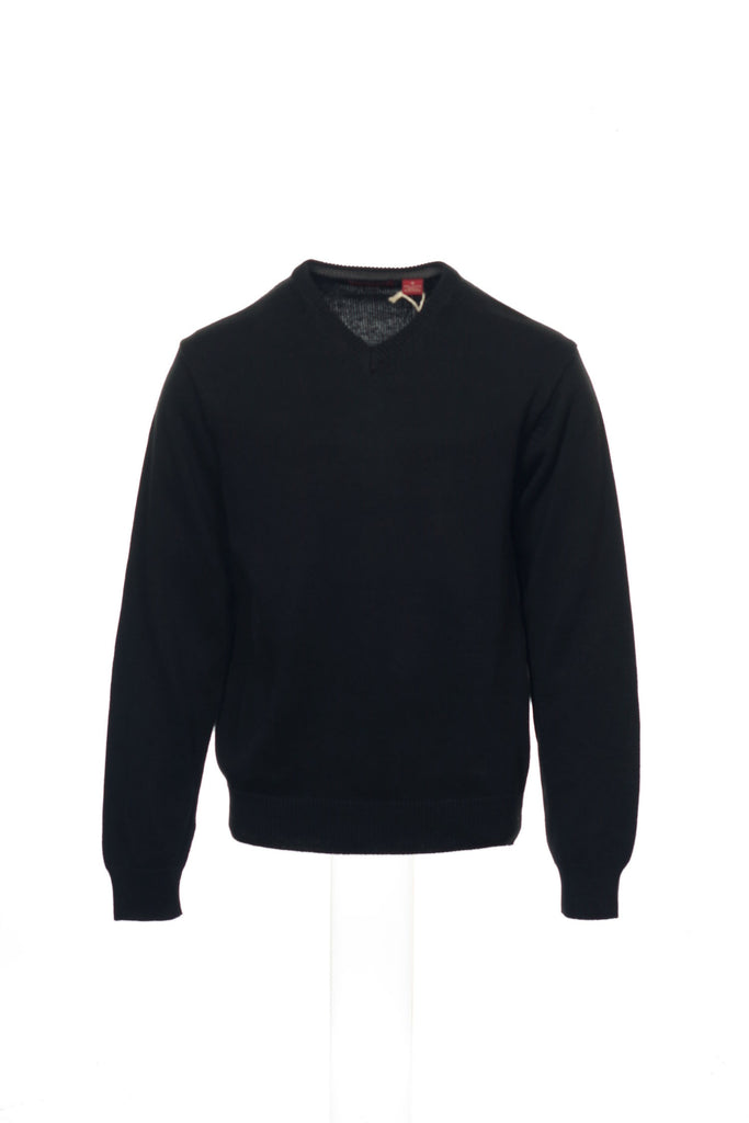 American Blue Mens Black V-Neck Sweater