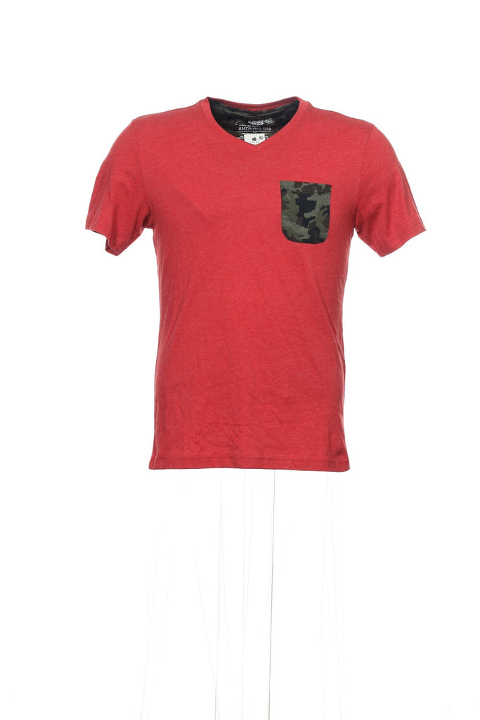 American Rag Mens Red Heather V-Neck T-Shirt