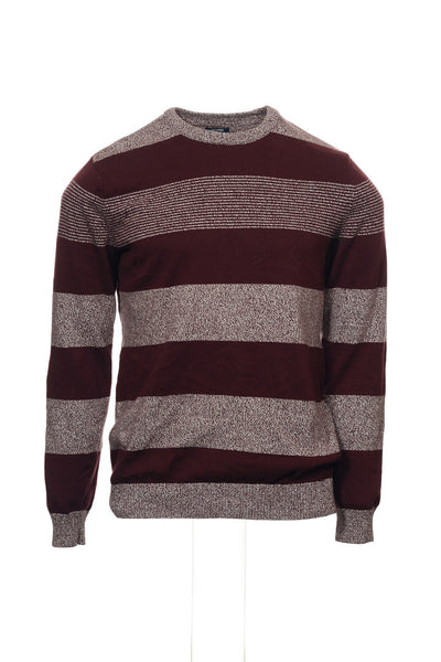 American Rag Mens Burgundy Wide Striped Crew Neck Sweater